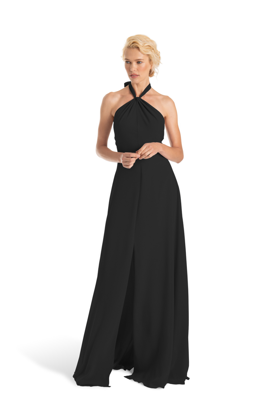 Black Twisted halter neck pleated bodice long dress