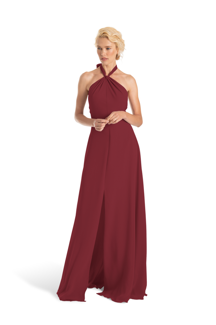 Burgundy Joanna August Long Bridesmaid Dress Bella