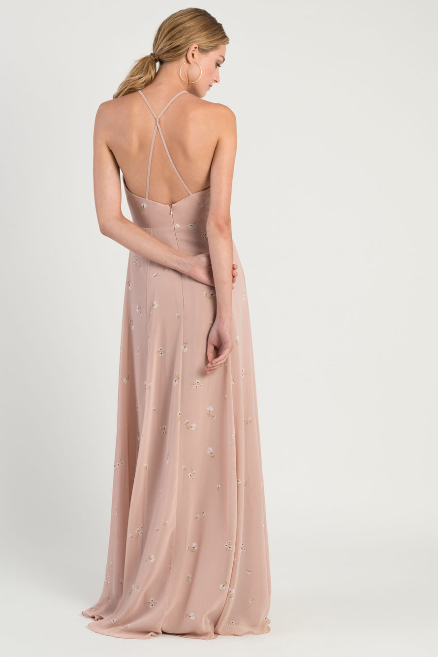 plunging halter v-neckline with gathered bodice in flowy luxe chiffon