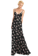 Joanna August Bridesmaid Dress Claudette Flower Print Long-Black-Chiffon