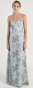 scoop neckline spaghetti strap in enchanting floral embroidery tulle