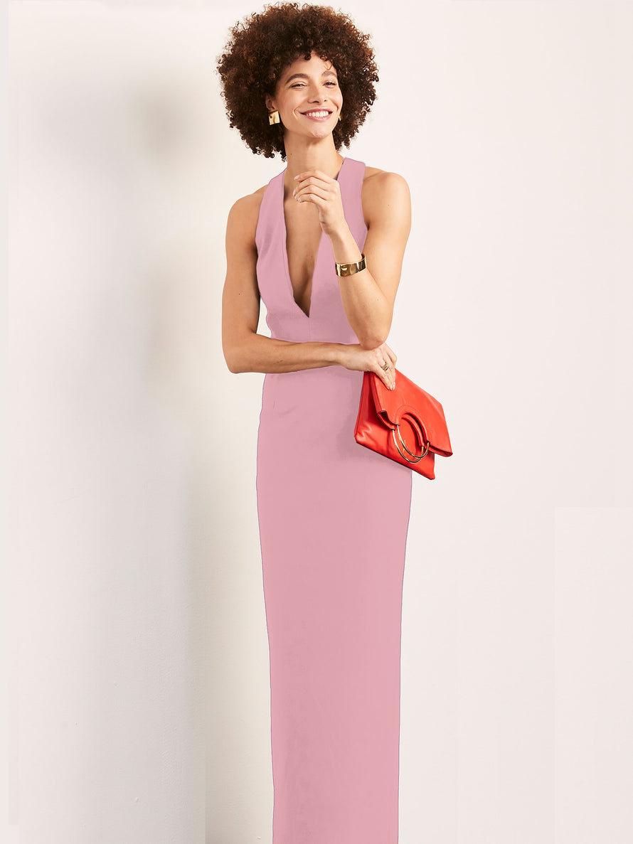 Blush Altress Julia Plunging Neckline Long Bridesmaid Dress