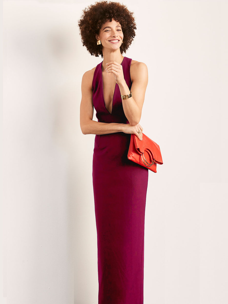 Burgundy Altress Julia Plunging Neckline Long Bridesmaid Dress