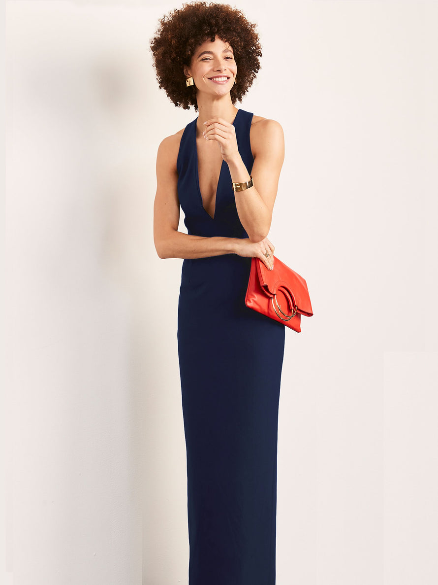 Navy Altress Julia Plunging Neckline Long Bridesmaid Dress