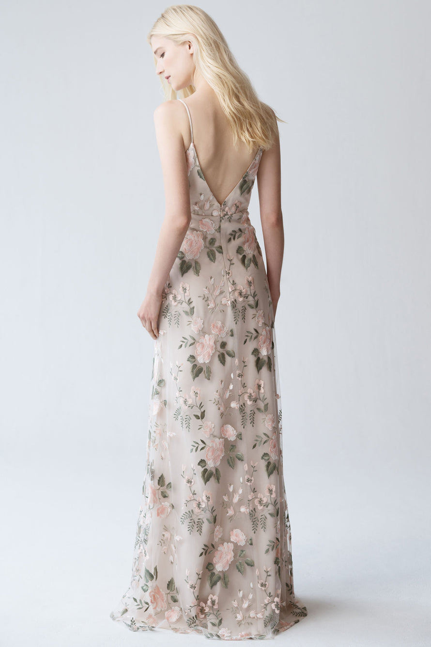 v-neckline spaghetti strap with deep v back in enchanting floral embroidery