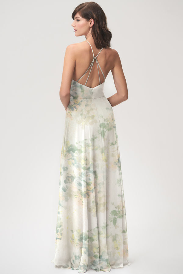 high halter neckline in printed luxe chiffon