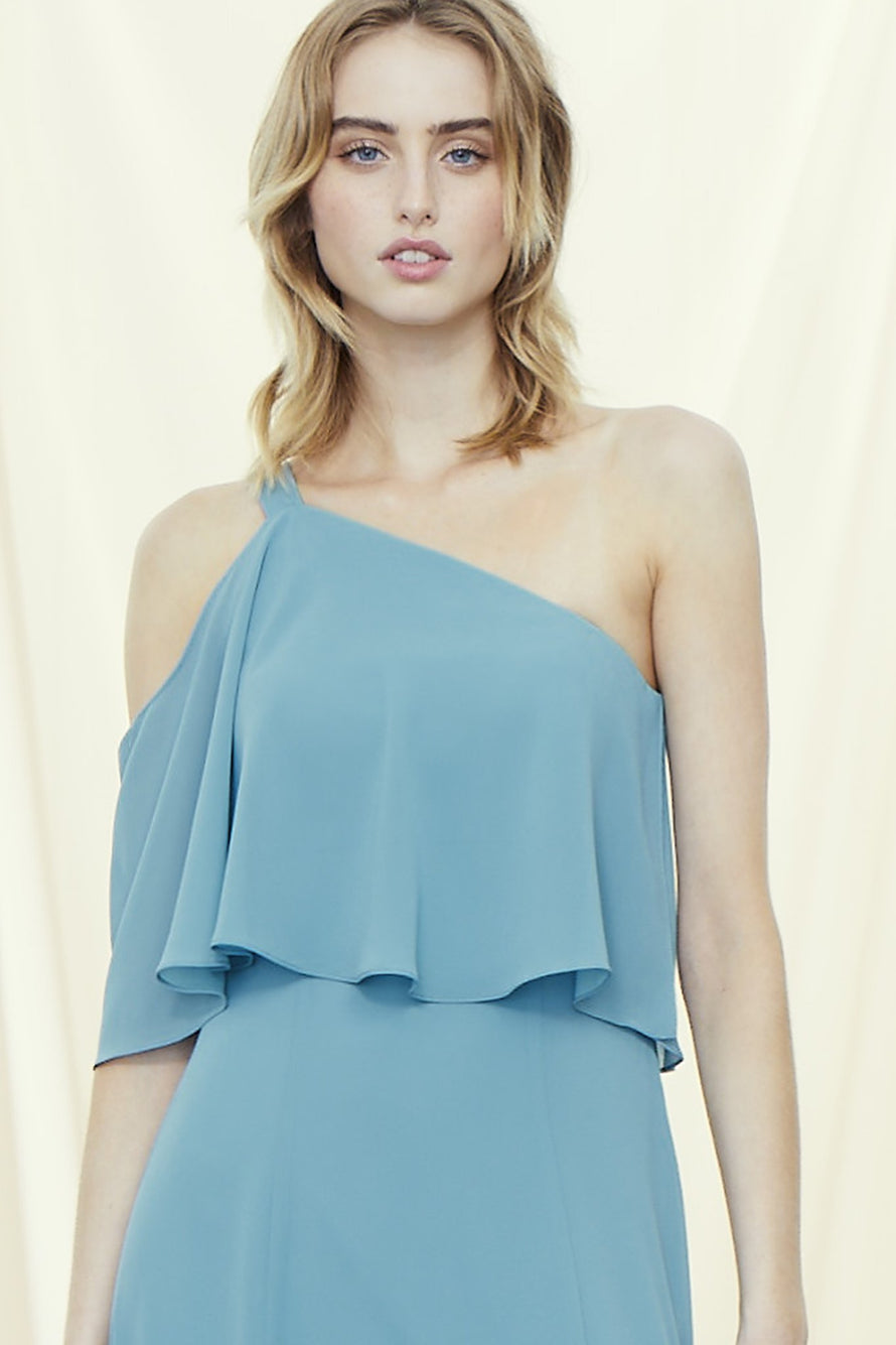 Sleeved one shoulder bridesmaids dress with draped ruffle overlay in chiffon