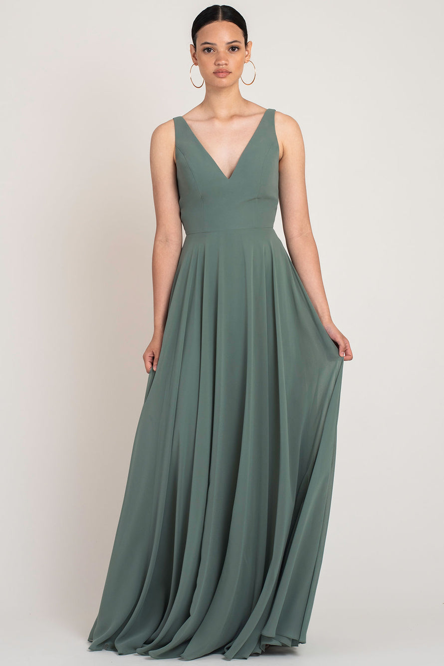 Jenny Yoo Long Bridesmaid Dress Maddi front