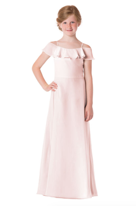 Bari Jay Junior Bridesmaid Dress - 1730(JR)-MetallicChiffon-RoseGold