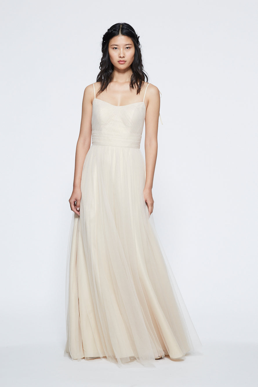 Marchesa Ruched Scoop Neck Long Bridesmaid Dress