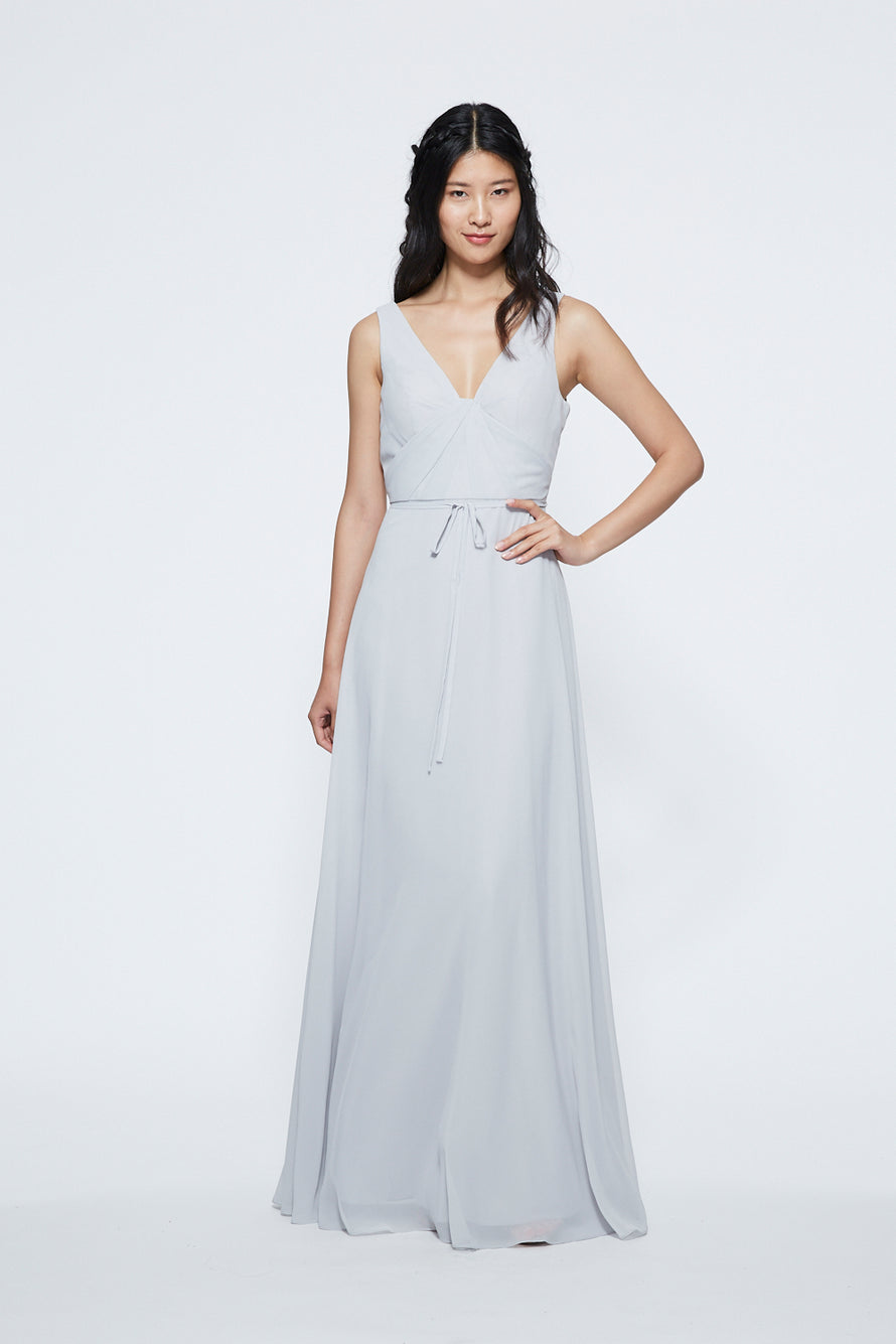 Marchesa Notte Ruched V-neck Long Bridesmaid Dress