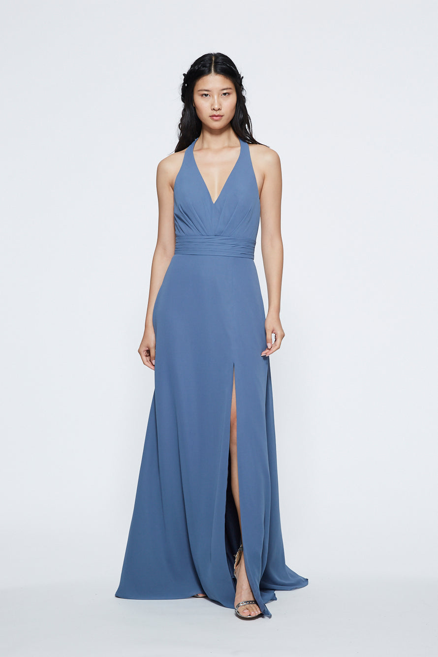 Marchesa V-neck Tie Halter with Slit Long Bridesmaid Dress