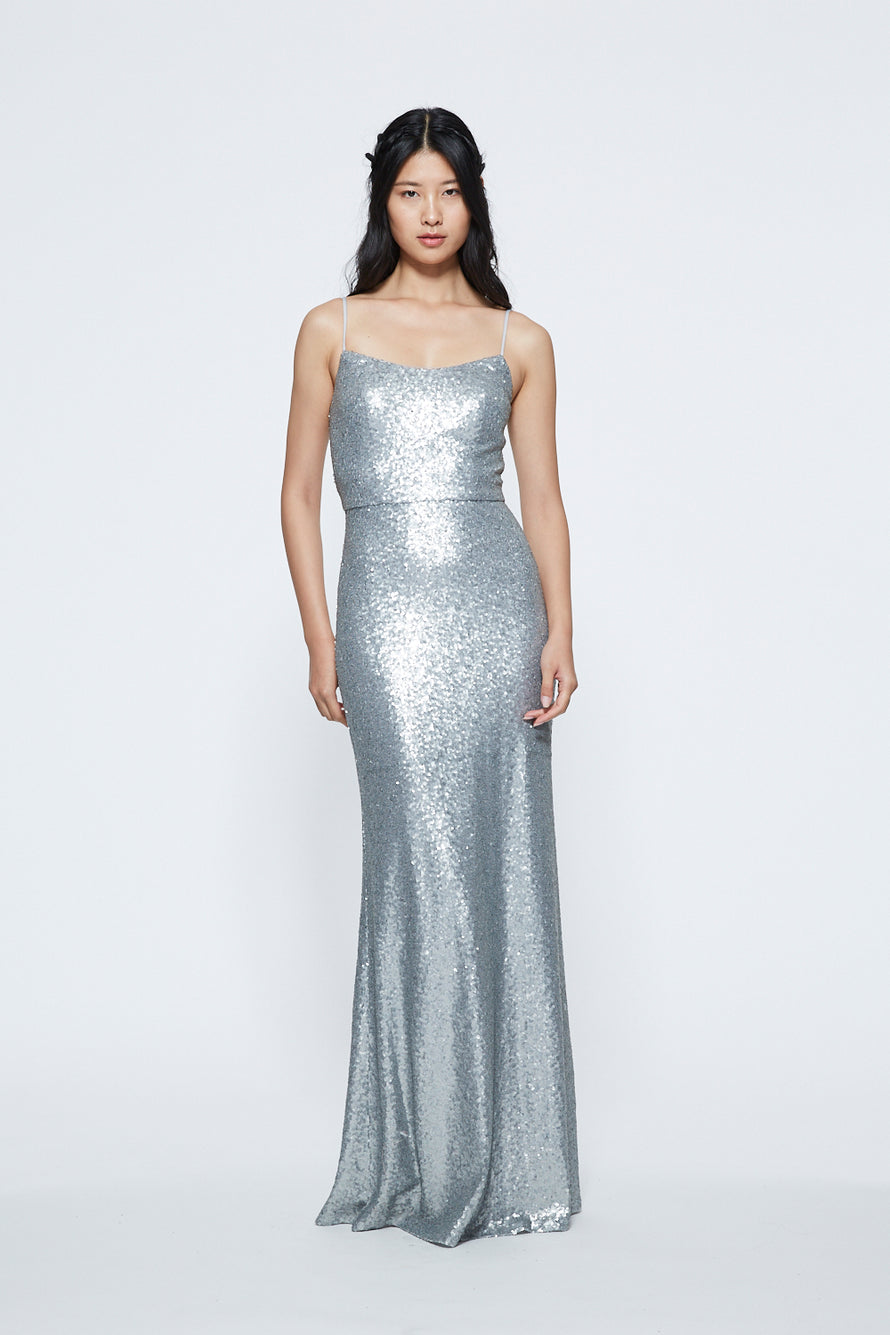 Marchesa Scoop Neck Sequin Long Bridesmaid Dress