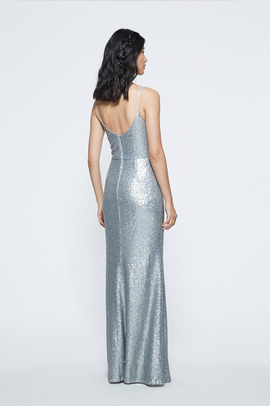Marchesa Scoop Neck Sequin Long Bridesmaid Dress Back