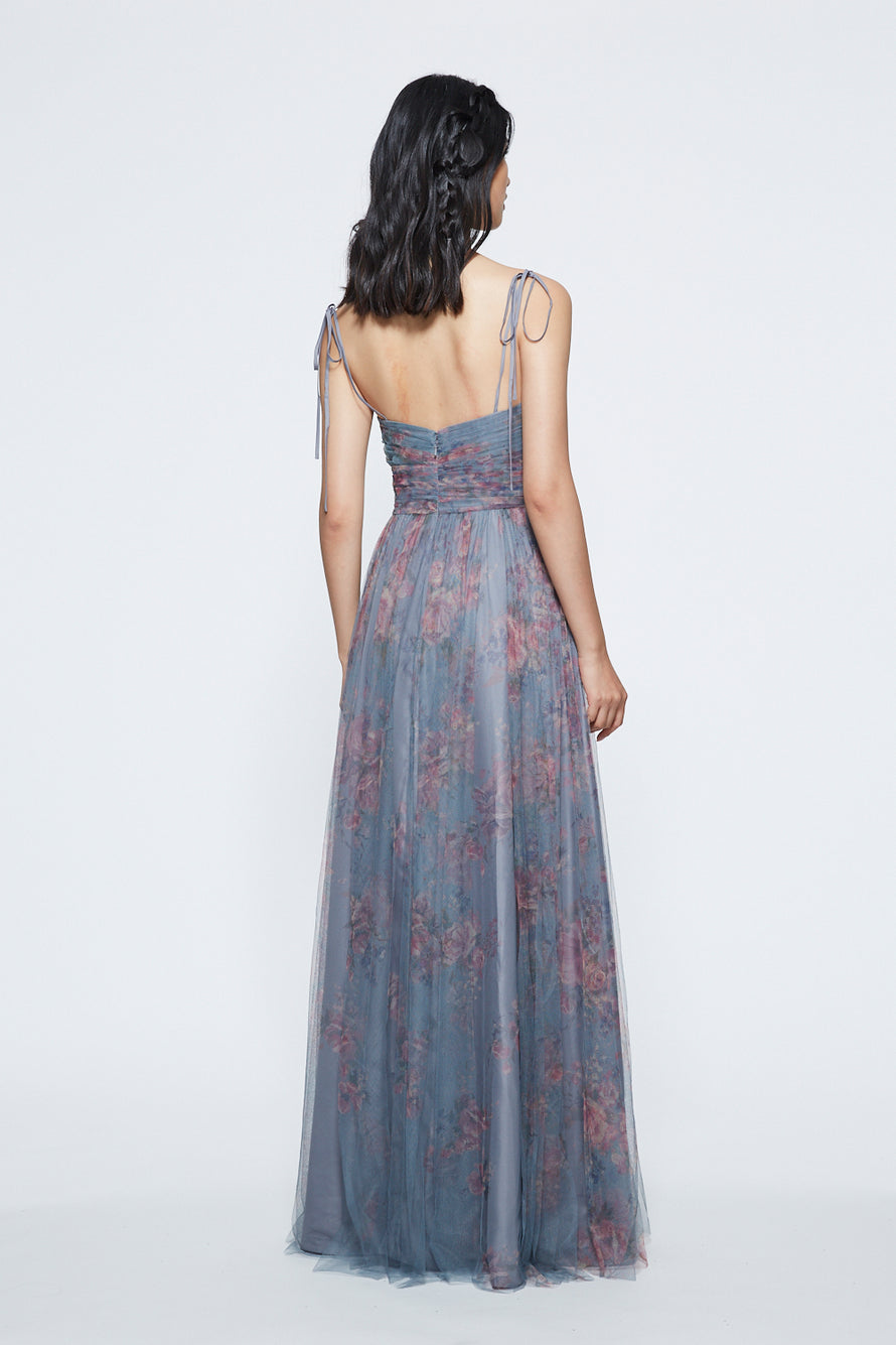 Marchesa Ruched Scoop Neck Long Bridesmaid Dress Back