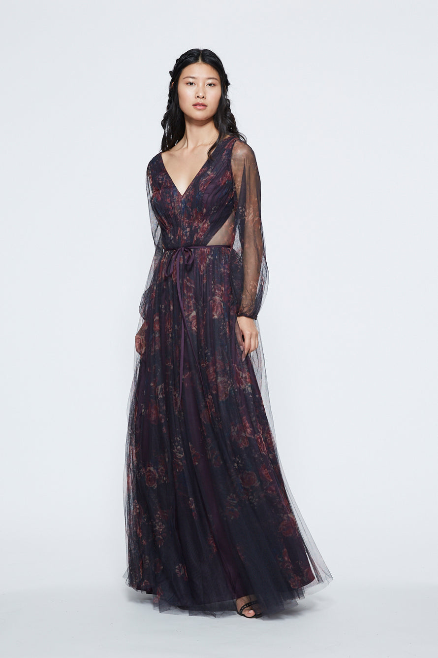 Marchesa V-neck Bishop Sleeve Long Bridesmaid Dress