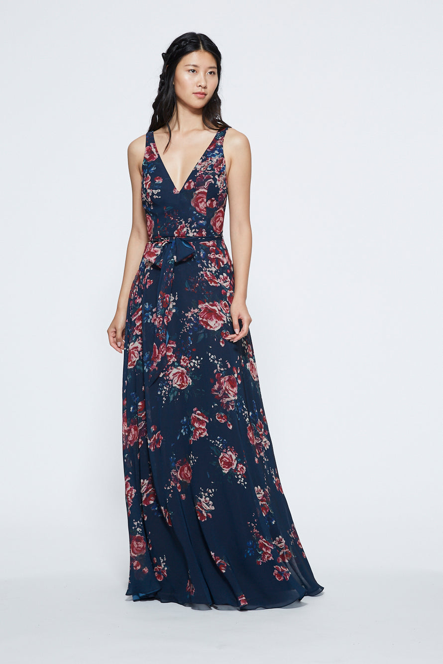 Marchesa V-neck with Self Sash Long Bridesmaid Dress