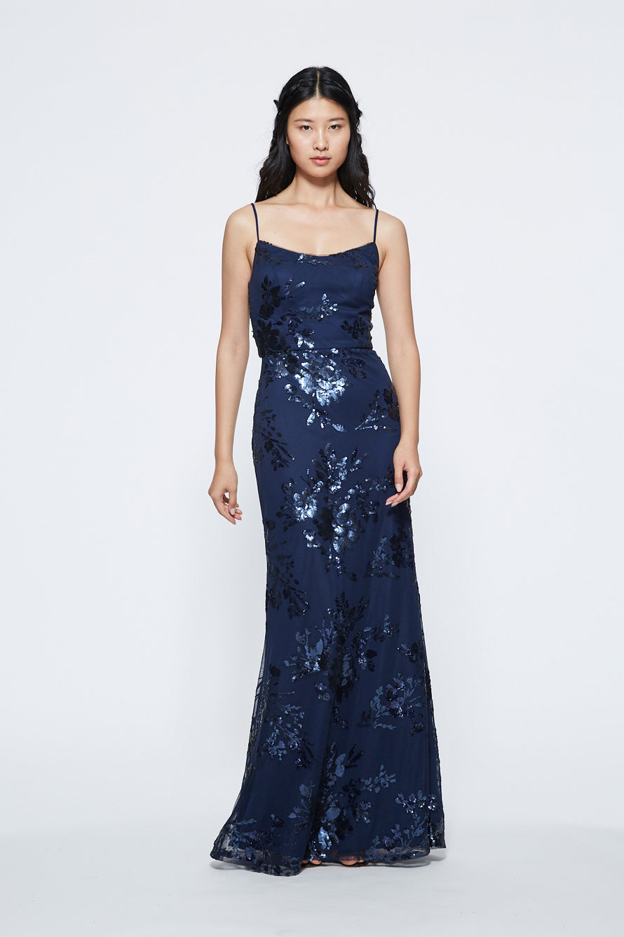 Marchesa Long Bridesmaid Dress Scoop Neckline Floral Sequin