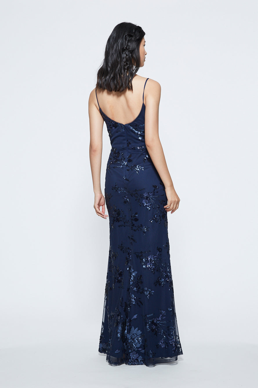 Marchesa Long Bridesmaid Dress Scoop Neckline Floral Sequin Back