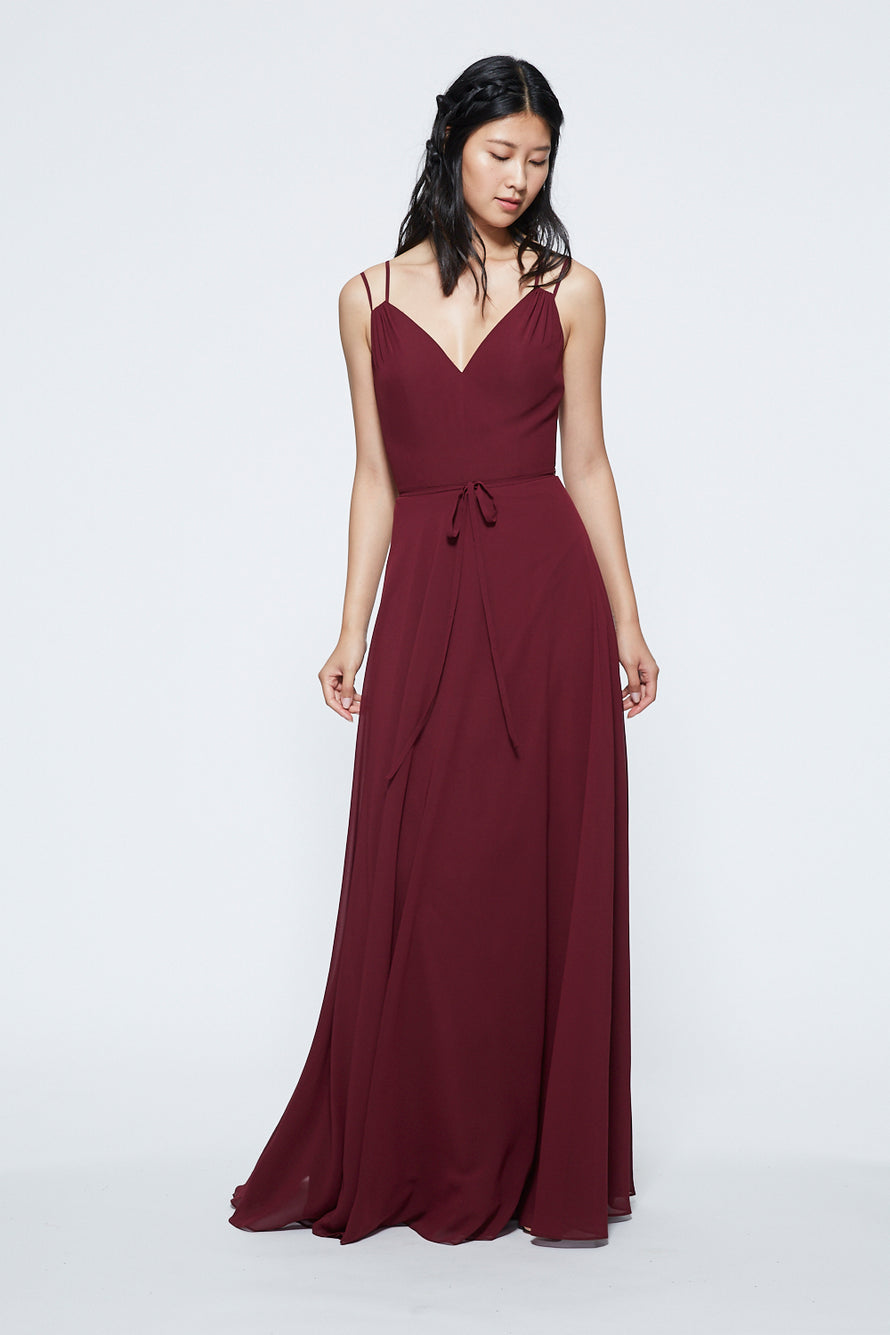 Marchesa Notte V-neck with Strap Detail Long Bridesmaid Dress