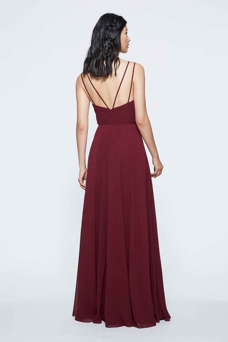 Marchesa Notte V-neck with Strap Detail Long Bridesmaid Dress Back