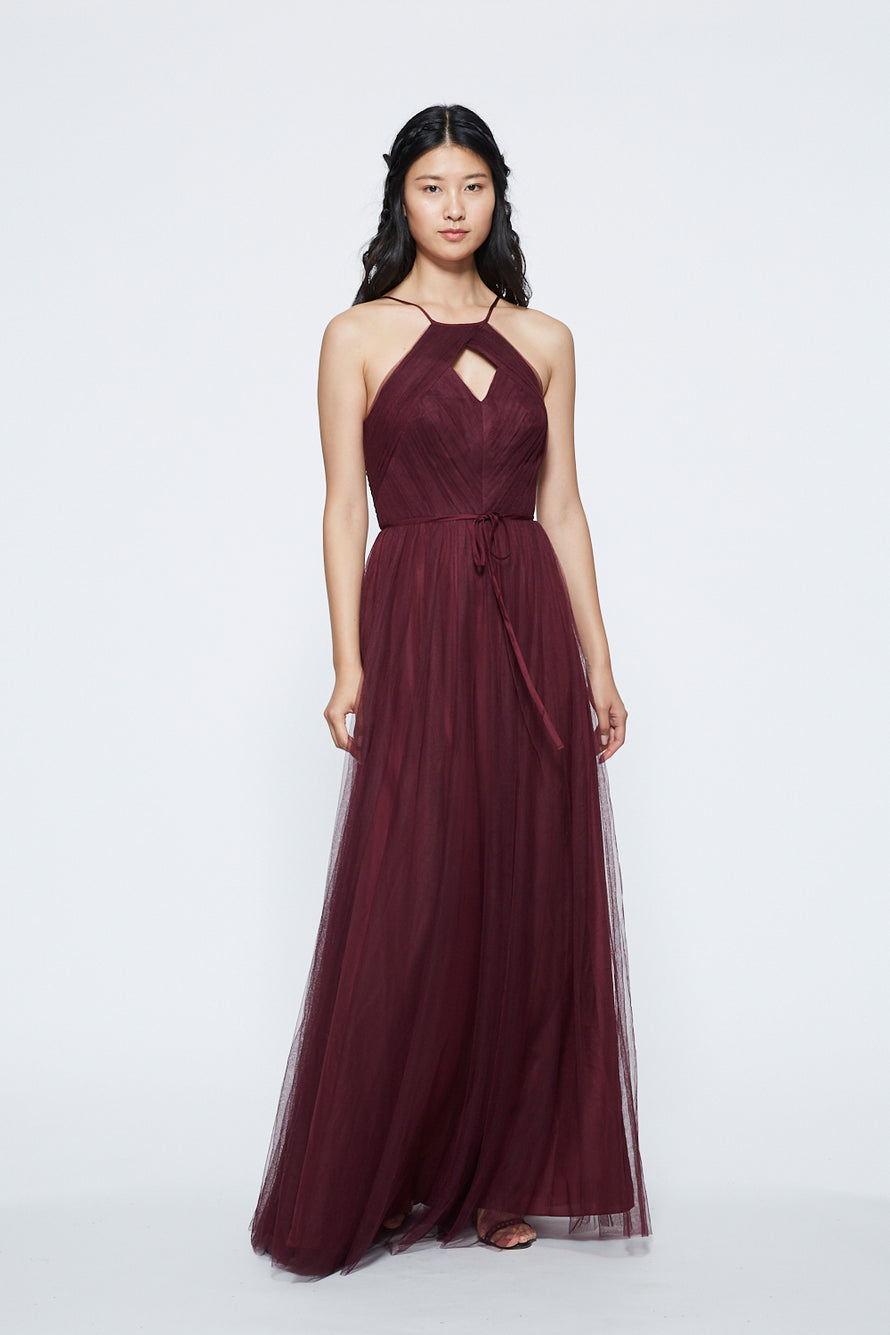Marchesa Ruched Keyhole Halter Long Bridesmaid Dress