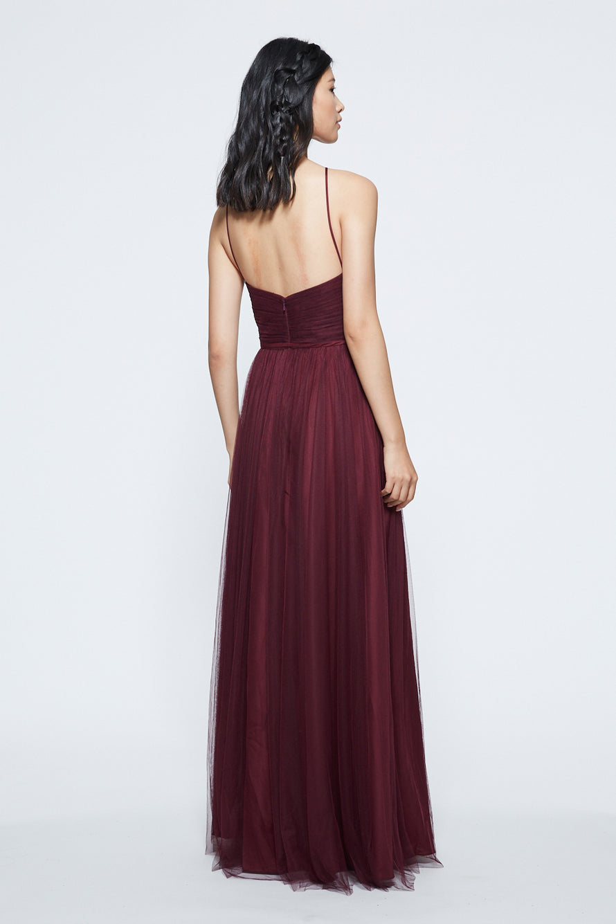 Marchesa Ruched Keyhole Halter Long Bridesmaid Dress Back