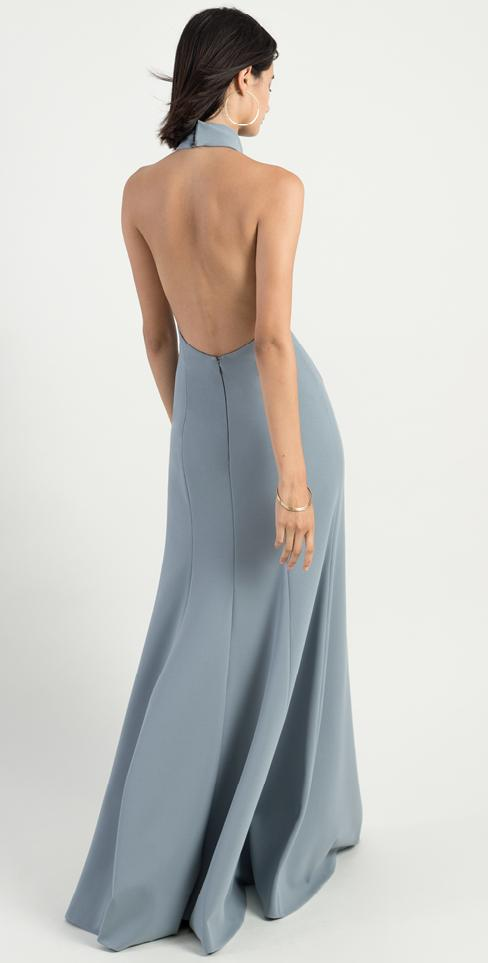 halter neckline with backless bodice in knit crepe