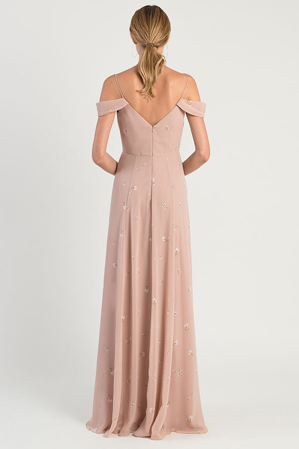 v-neckline cold shoulder long dress in flowy luxe chiffon