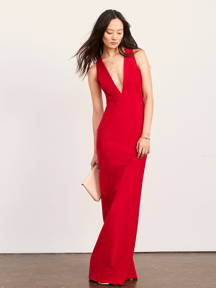 Red Altress Julia Plunging Neckline Long Bridesmaid Dress