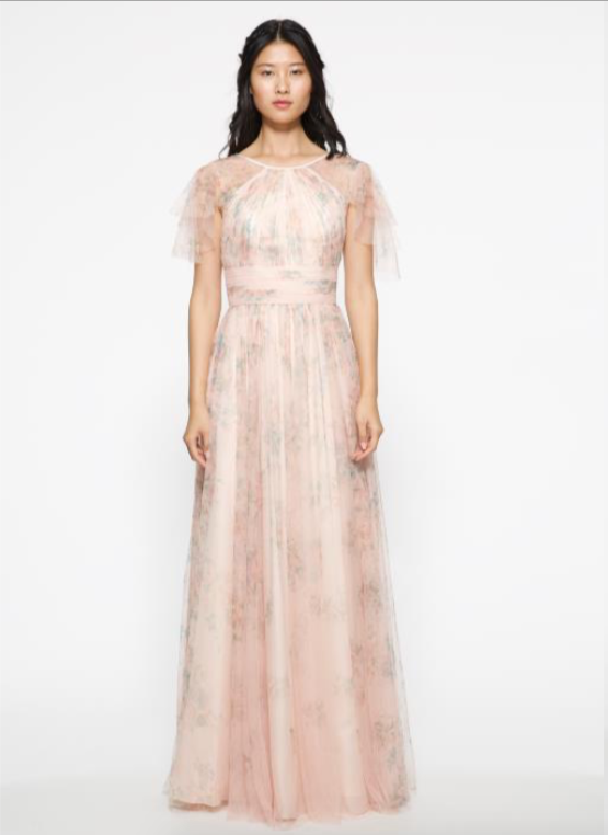 Marchesa Notte Double Layer Ruffle Sleeve Long Bridesmaid Dress