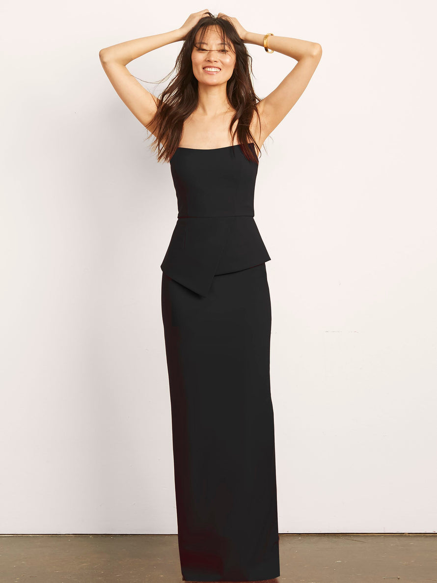 Black Altress Victoria with Peplum Long Bridesmaid Dress