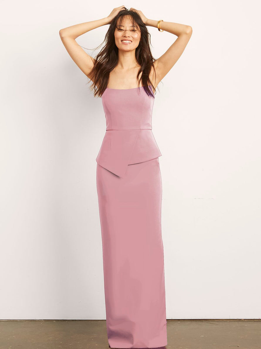Blush Altress Victoria with Peplum Long Bridesmaid Dress