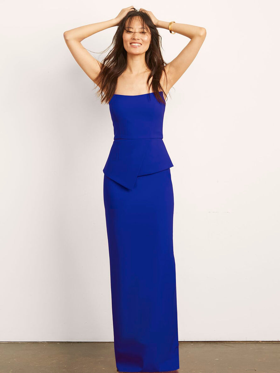 Cobalt Altress Victoria with Peplum Long Bridesmaid Dress