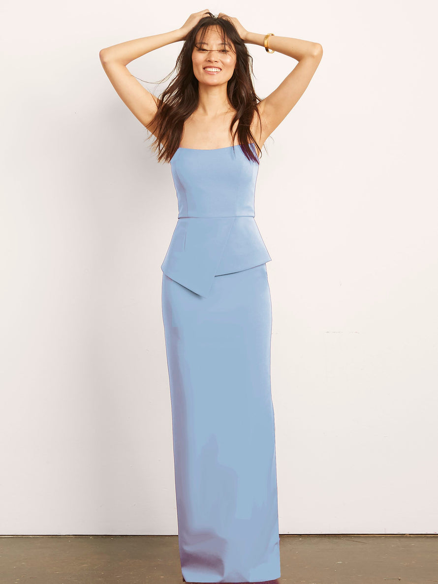 Light blue Altress Victoria with Peplum Long Bridesmaid Dress
