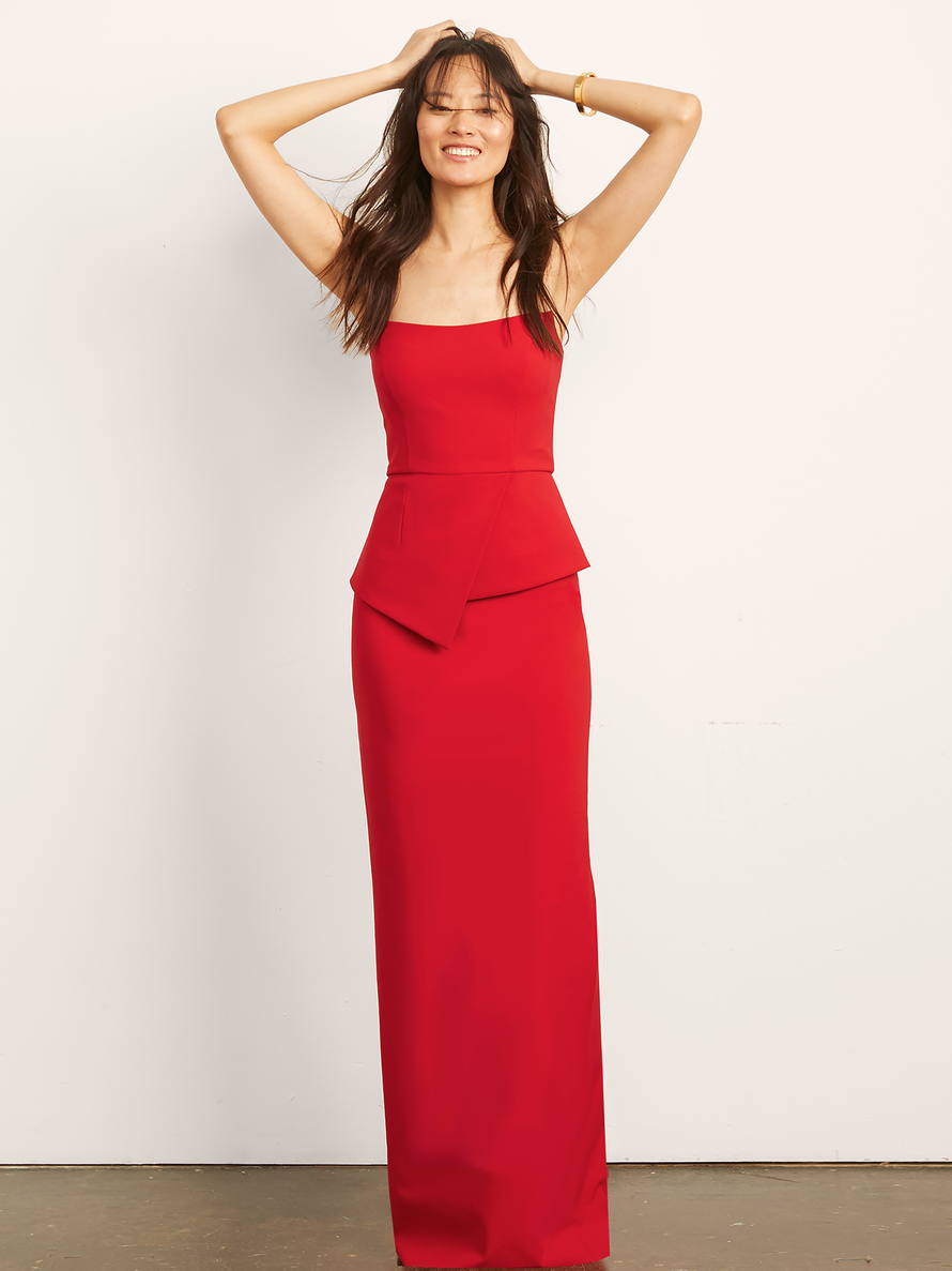 Red Altress Victoria with Peplum Long Bridesmaid Dress