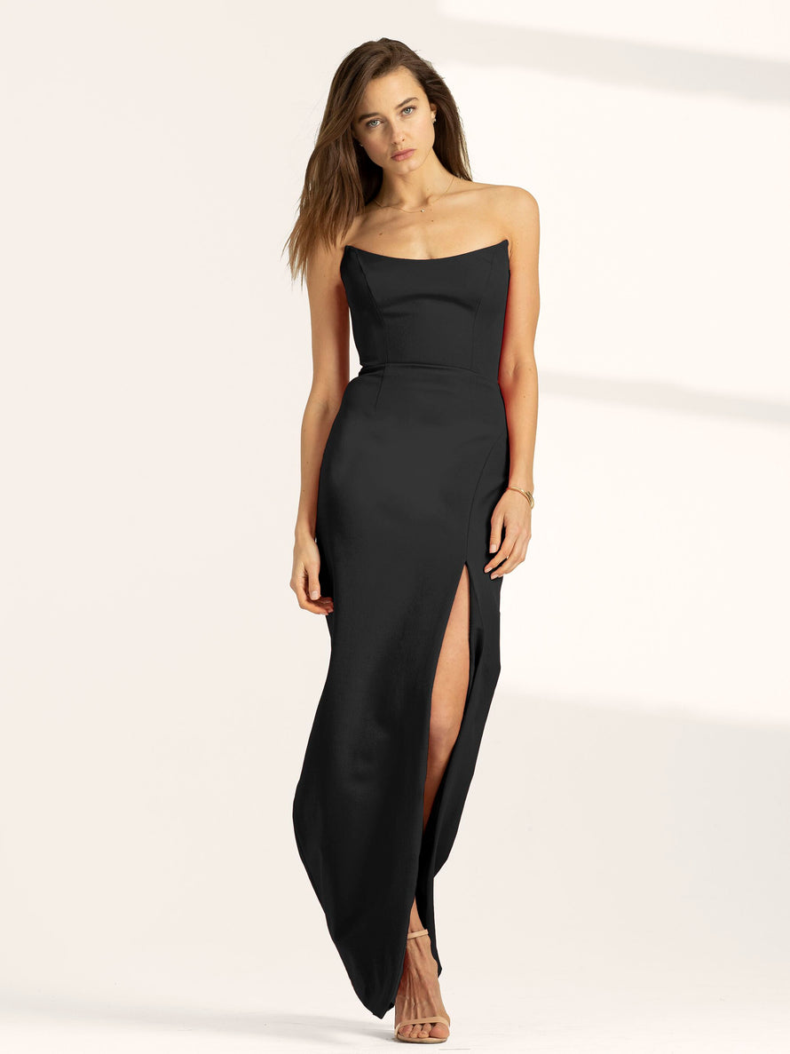 Black Altress Victoria Strapless with Slit Long Bridesmaid Dress