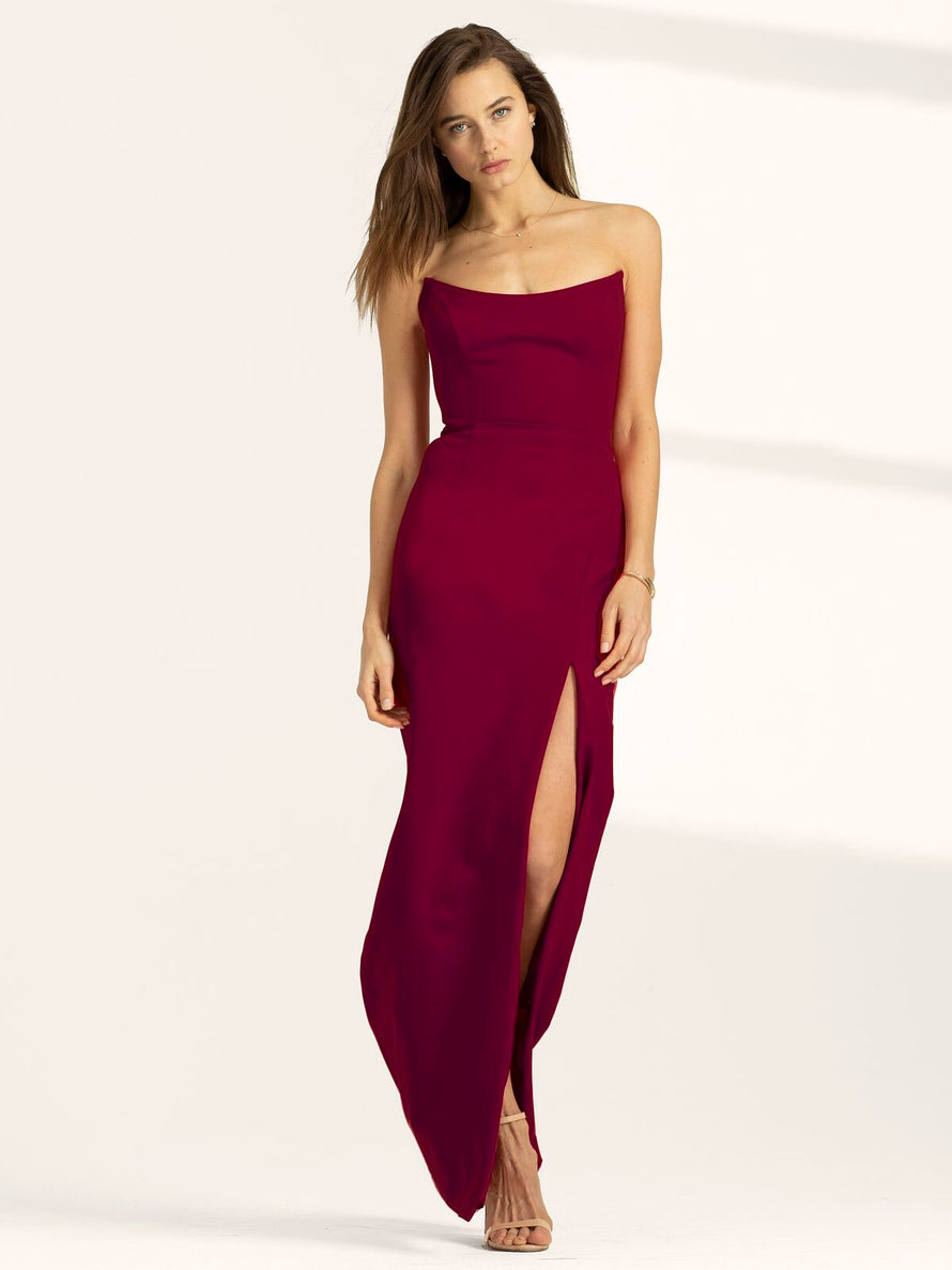 Burgundy Altress Victoria Strapless with Slit Long Bridesmaid Dress