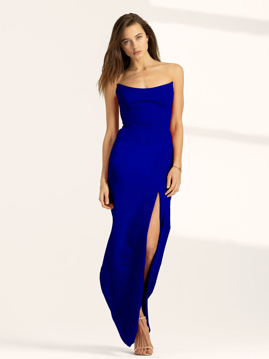 Cobalt Altress Victoria Strapless with Slit Long Bridesmaid Dress