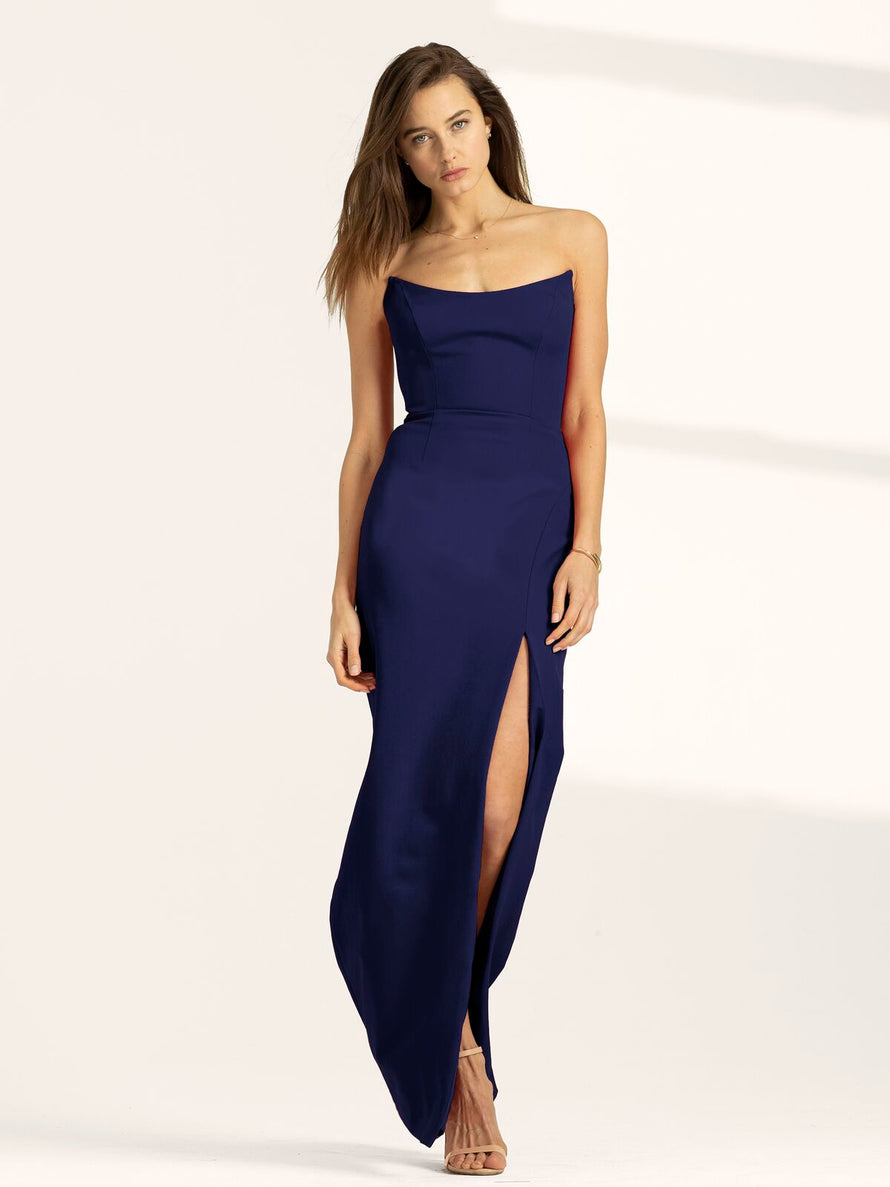 Navy Altress Victoria Strapless with Slit Long Bridesmaid Dress