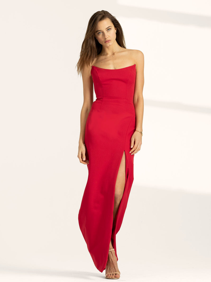 Red Altress Victoria Strapless with Slit Long Bridesmaid Dress