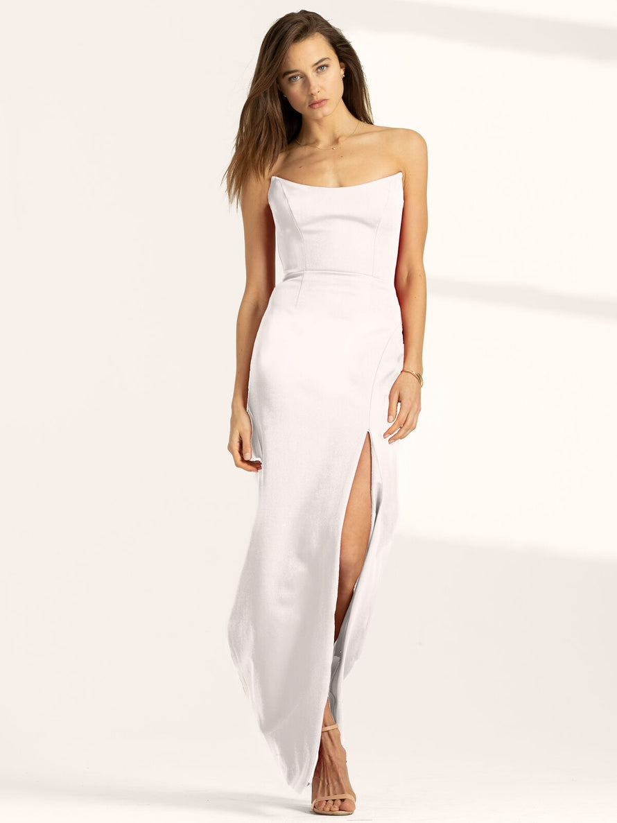 White Altress Victoria Strapless with Slit Long Bridesmaid Dress