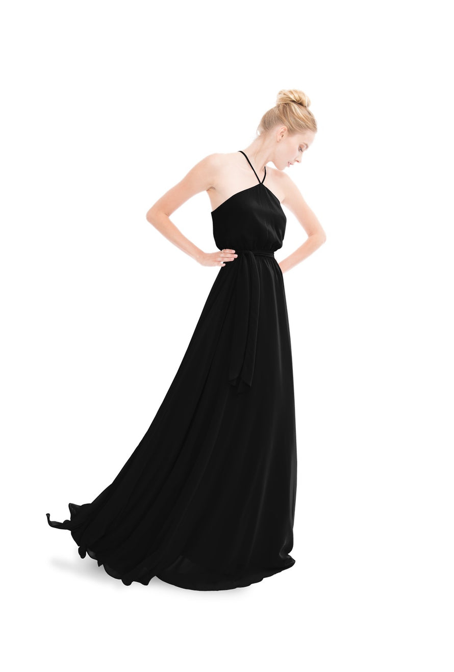 Black Joanna August Long Bridesmaid Dress Allison