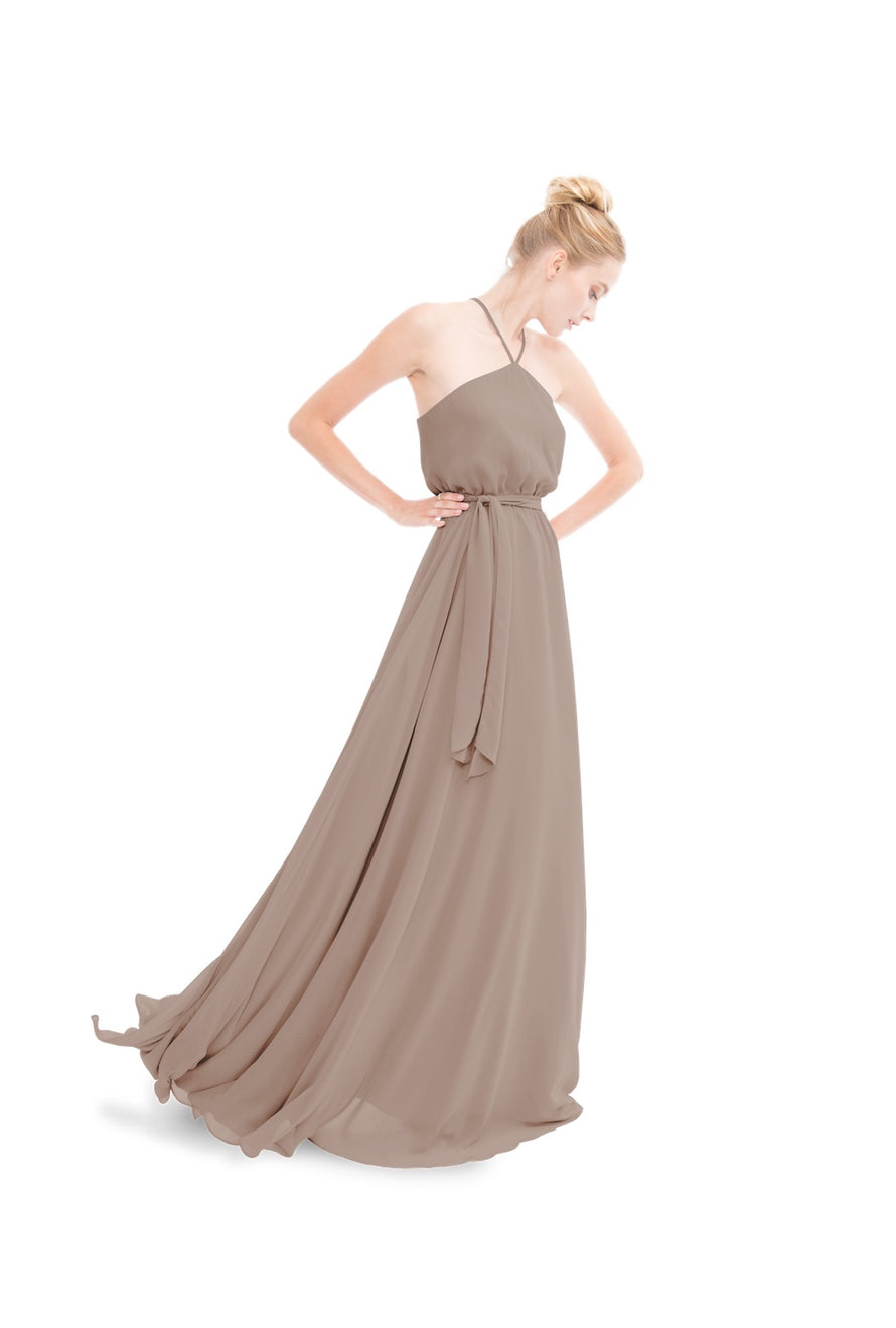 Brown Joanna August Long Bridesmaid Dress Allison