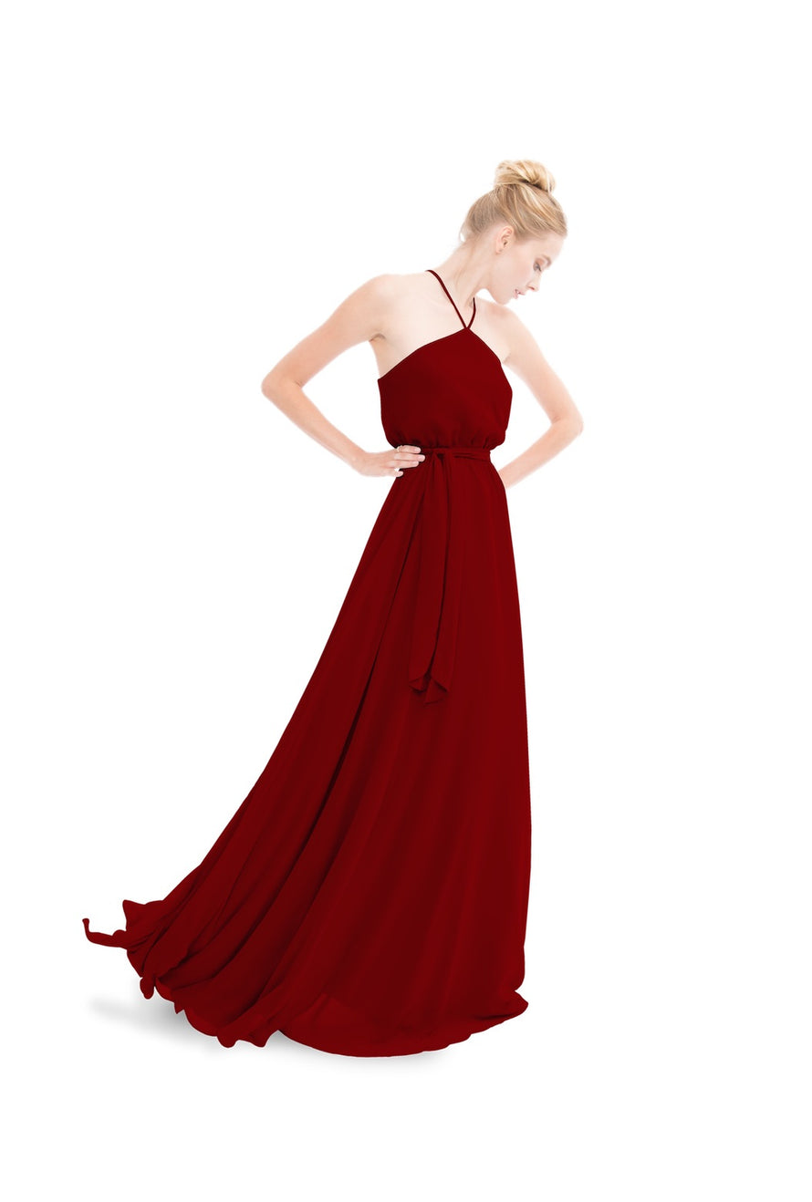 Merlot Joanna August Long Bridesmaid Dress Allison