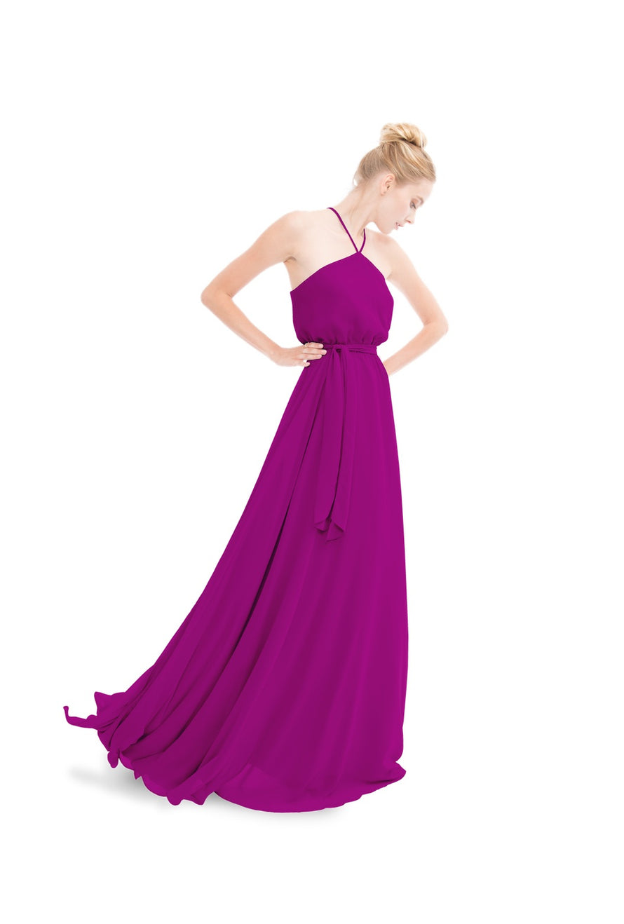 Fuchsia Pink Joanna August Long Bridesmaid Dress Allison
