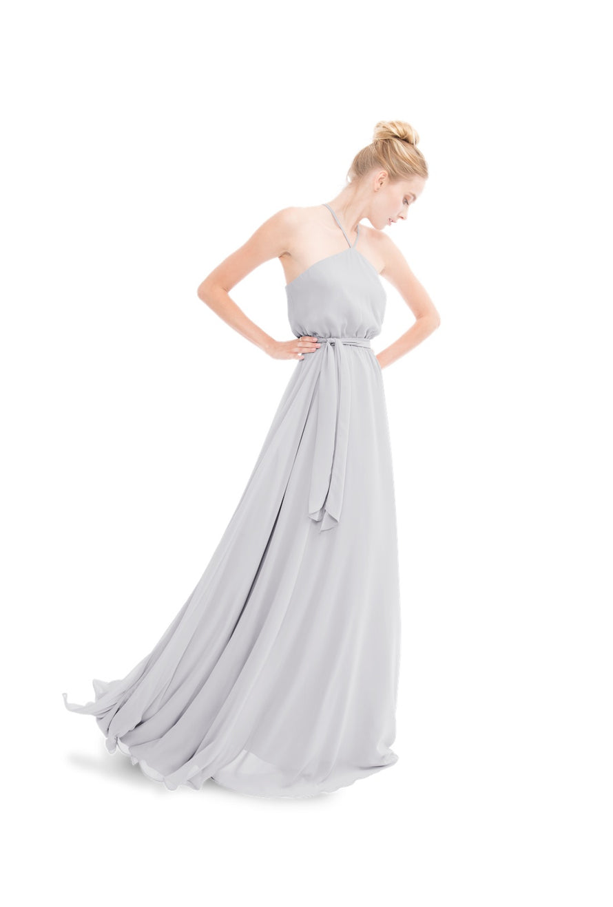 Silver Joanna August Long Bridesmaid Dress Allison