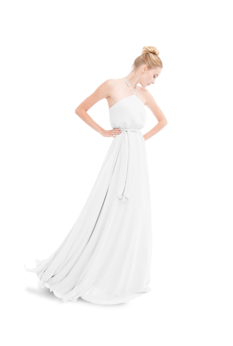 White Joanna August Long Bridesmaid Dress Allison