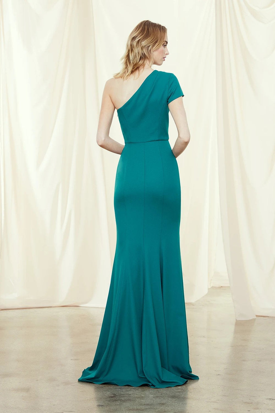 Cap sleeve, one shoulder bridesmaids dress with slit in crepe