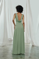 High neck bridesmaids dress with low cowl back in flat chiffon
